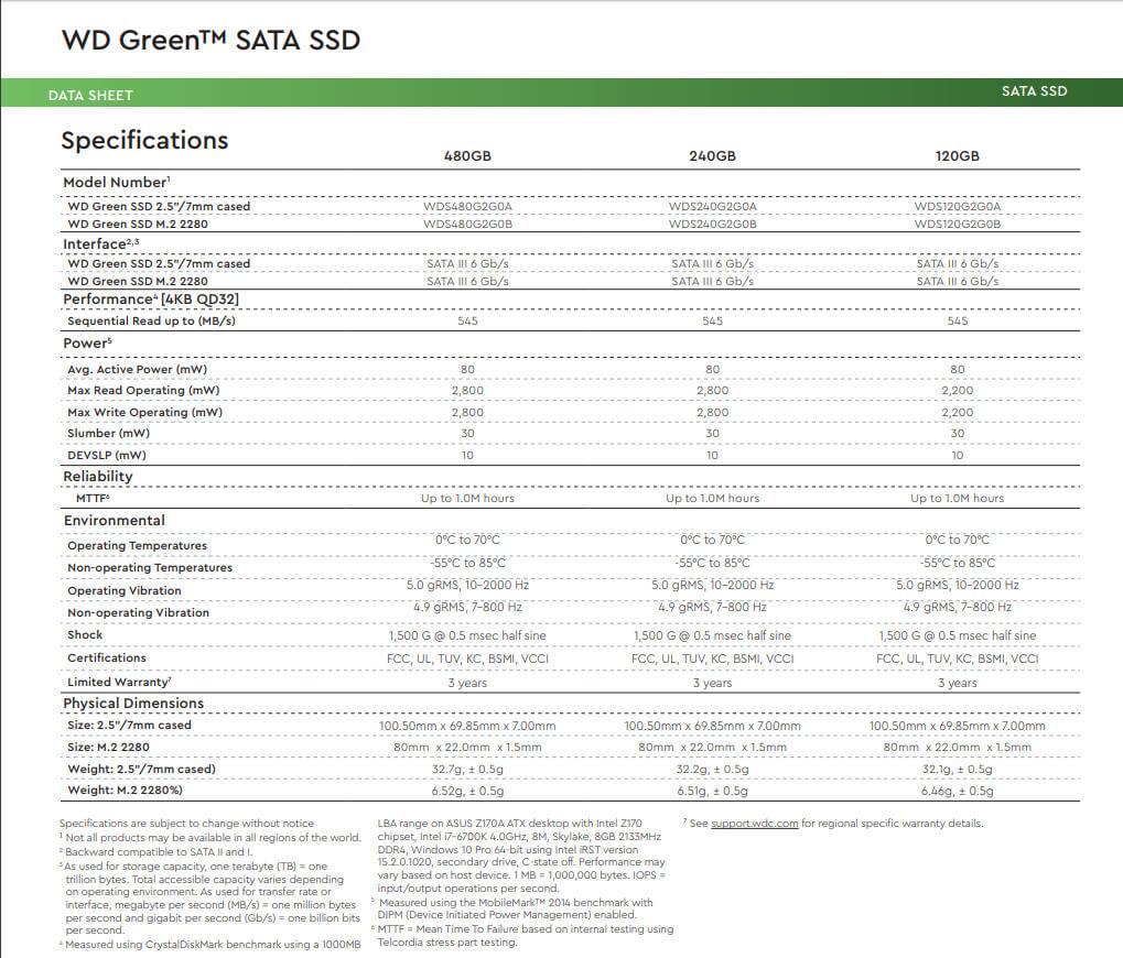 Thông số kĩ thuật ổ cứng SSD WD Green